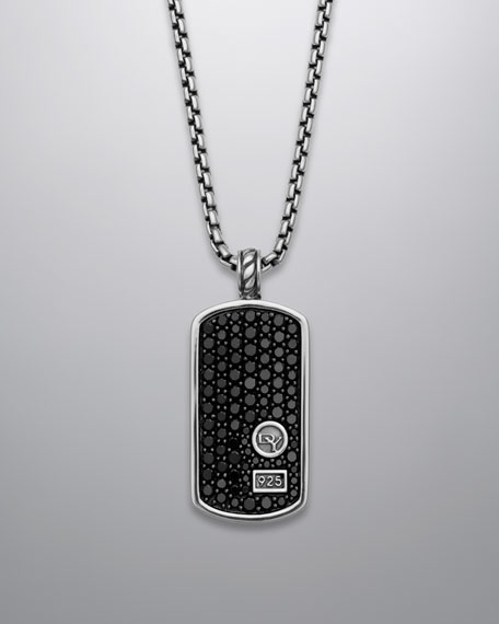David Yurman Pave Black Diamond Dog Tag Necklace