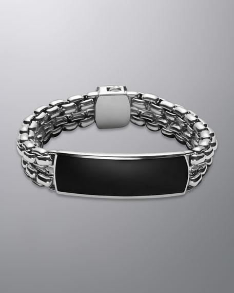 Exotic Stone Wide ID Bracelet with Black Onyx