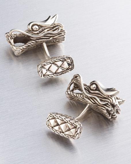 Naga Silver Dragon Cuff Links