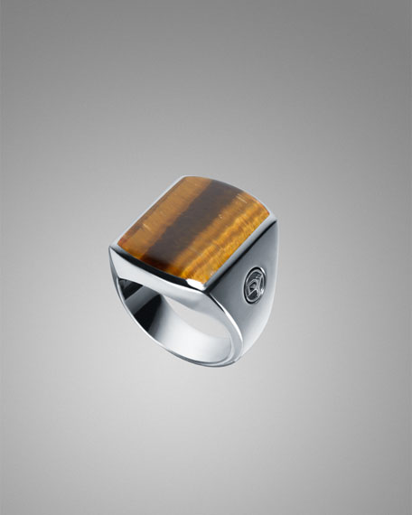 Tiger's Eye Exotic Stone Inlay Ring