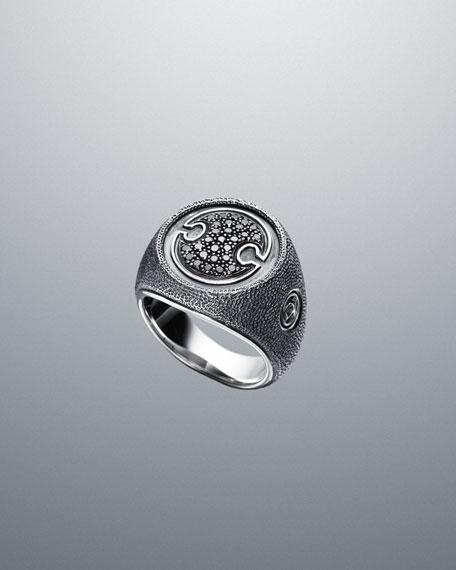 Pave Diamond Petrvs Textured Shield Ring