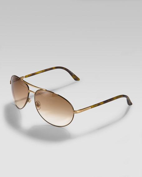 Aviator Sunglasses, Goldtone/Havana
