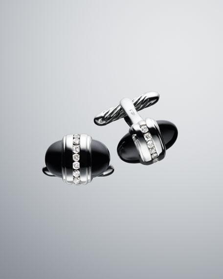 Pave Diamond Bullet Cuff Links