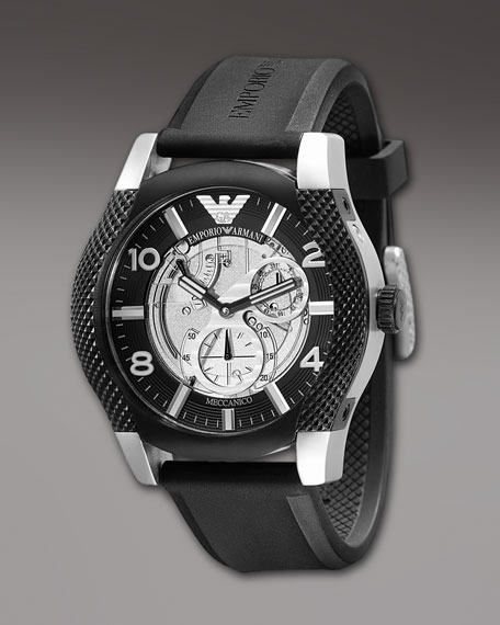 Automatic Skeleton Rubber Watch, Black