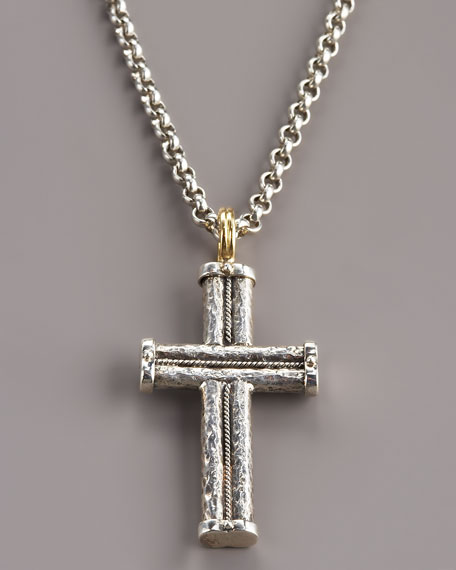 Hammered Rope Cross Pendant