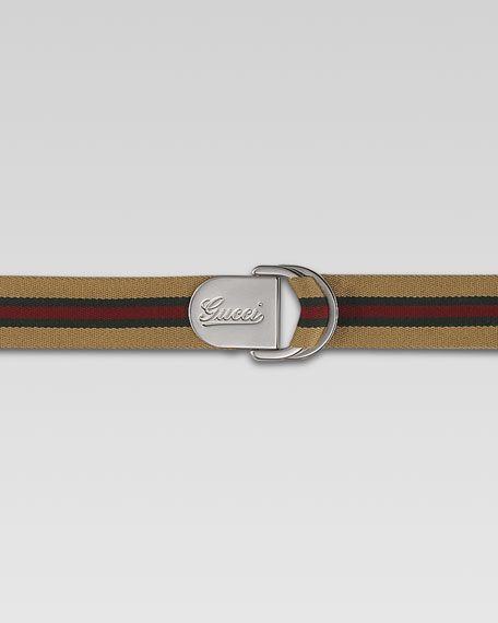 Script D-Ring Belt, Beige