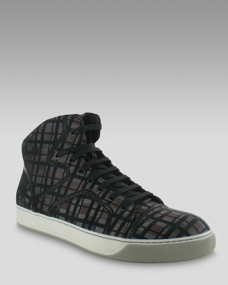 Plaid High-Top Sneaker