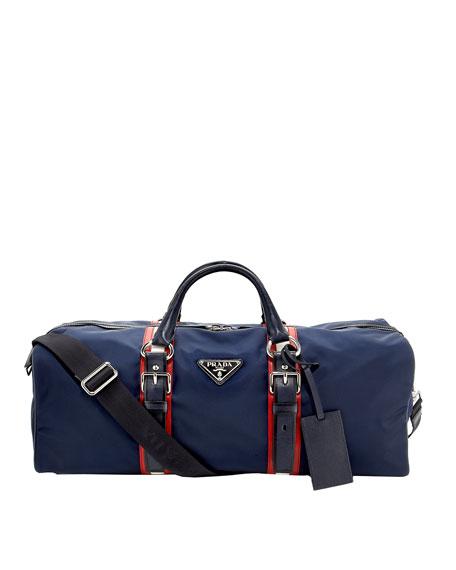 Striped Nylon Duffel Bag