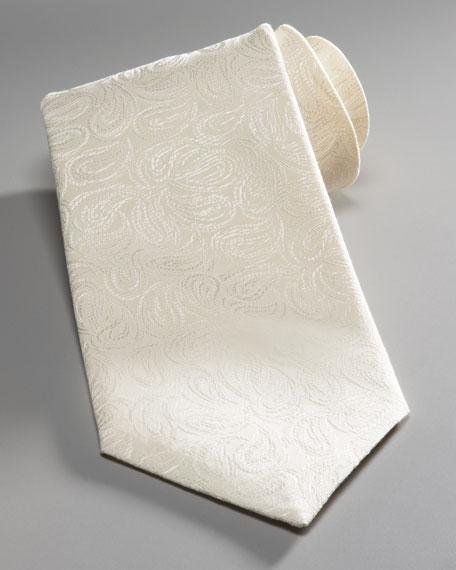 Paisley-Print Jacquard Tie, Off-White