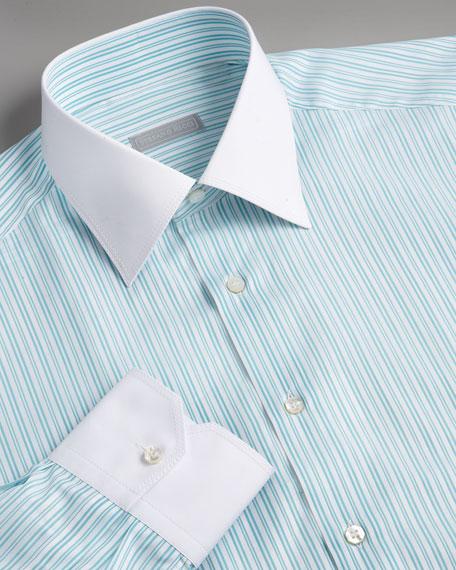 Striped Dress Shirt, Green