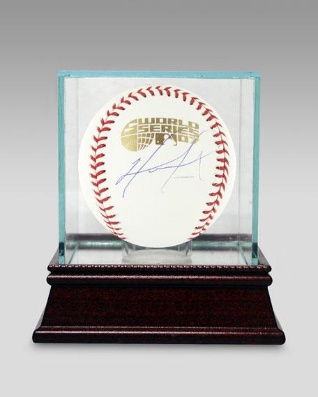 David Ortiz WS Baseball In Glass Case