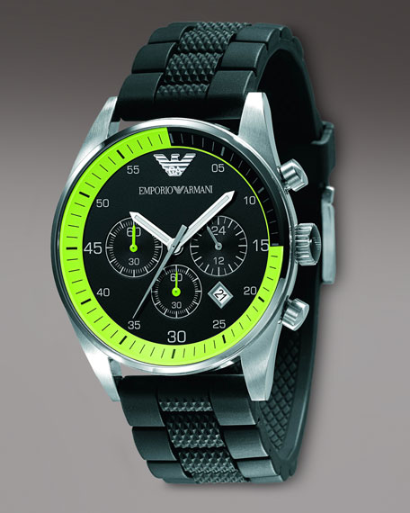 Silicon-Strap Watch, Lime-Black