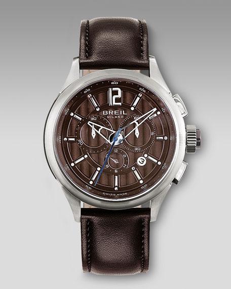 Chronograph Watch, Dark Brown Leather