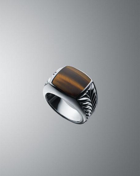15mm Tiger's Eye Chevron Ring