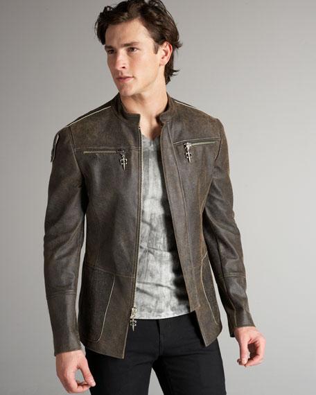 Crackle Leather Jacket