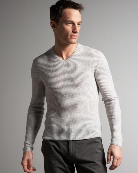 Waffle-Knit V-Neck Sweater