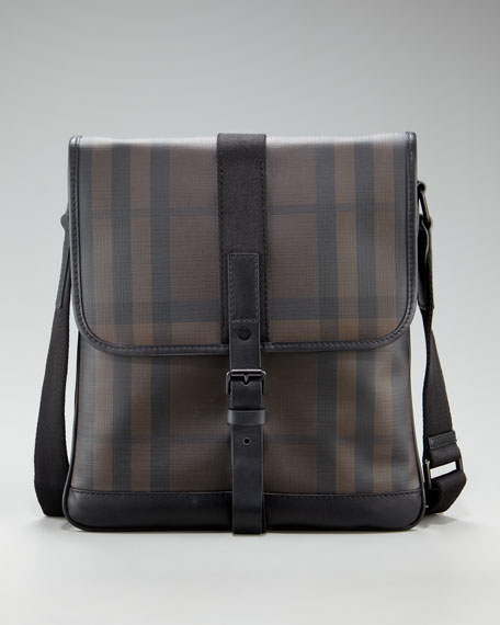 Check Messenger Bag, Chocolate