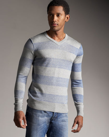 Rugby-Stripe V-Neck Shirt, Blue-Gray