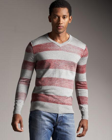 Rugby-Stripe V-Neck Shirt, Red-Gray
