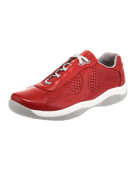 Perforated Low-Top Sneaker, Red