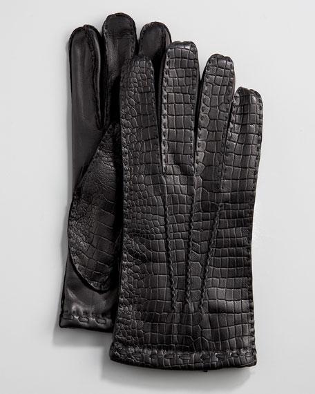 Crocodile-Embossed Gloves, Black