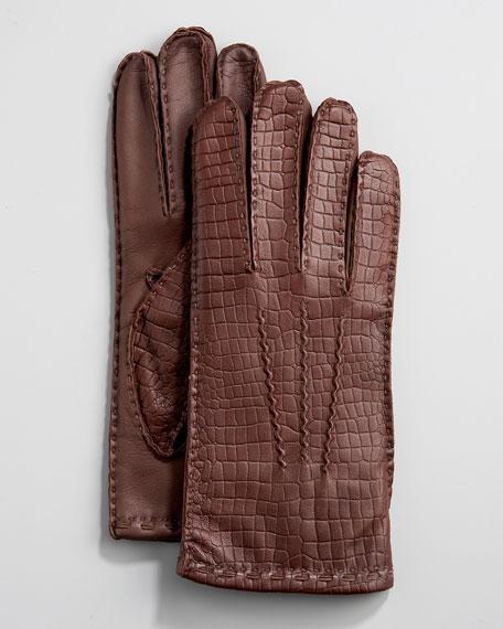 Crocodile-Embossed Gloves, Brown