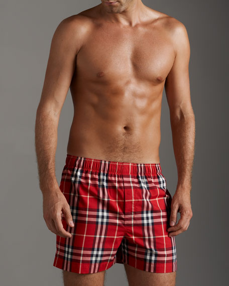 Check Woven Boxers, Berry Red