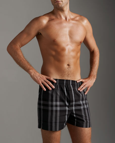 Check Woven Boxers, Charcoal