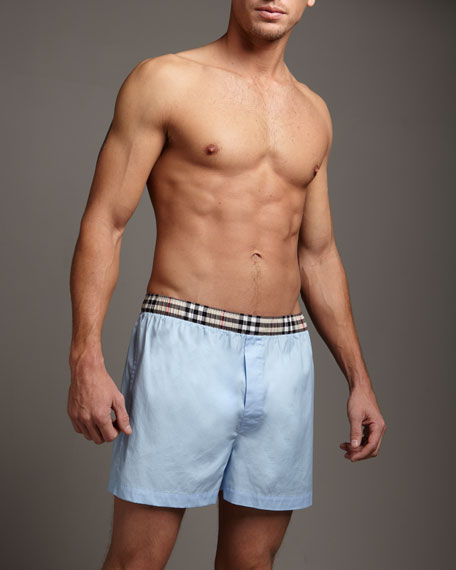 Check-Waist Boxers, Pale Blue