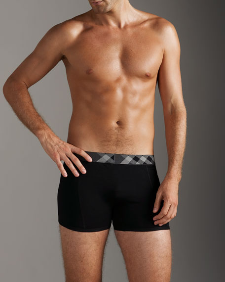 Boxer Briefs With Check Trim, Black