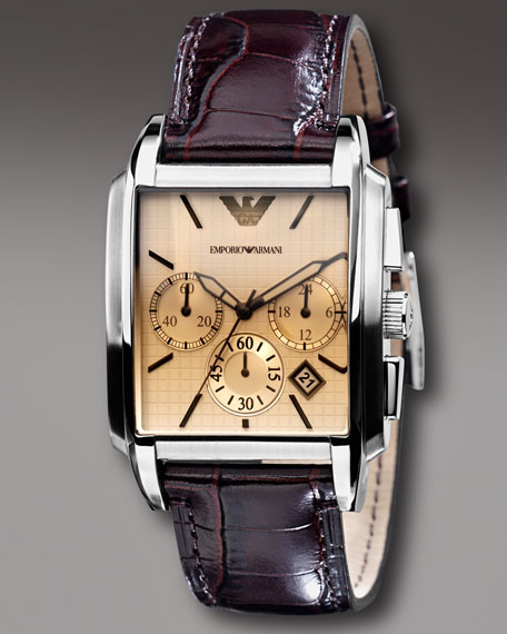 Square Chronograph Watch, Chocolate