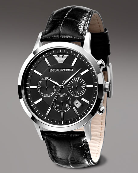 Stainless Steel Chronograph, Black