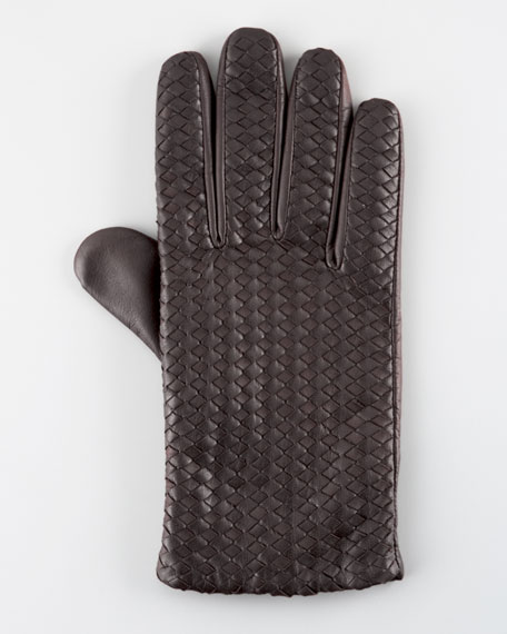 Billy Woven Leather Glove, Brown