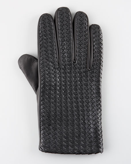 Billy Woven Leather Glove, Black