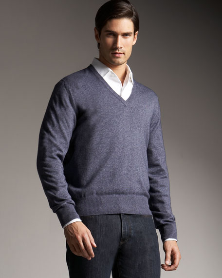 Silk-Cashmere V-Neck Sweater, Stonewash
