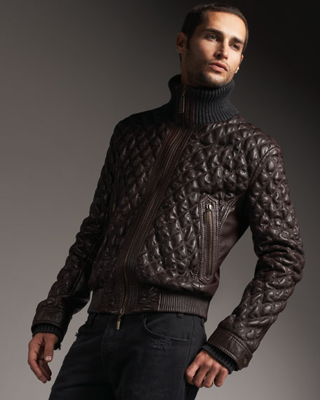 Quilted Leather Bomber