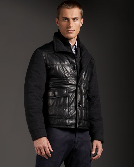 Padded Leather-Front Jacket