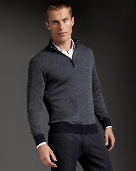 Wool-Cashmere Half-Zip Sweater
