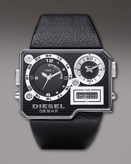 Rectangular Triple-Display Watch