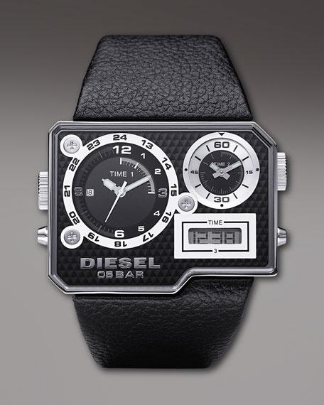 Rectangular Triple-Display Watch