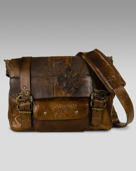 Double-Buckle Leather Messenger Bag