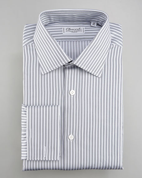 Striped Dress Shirt, White/Gray