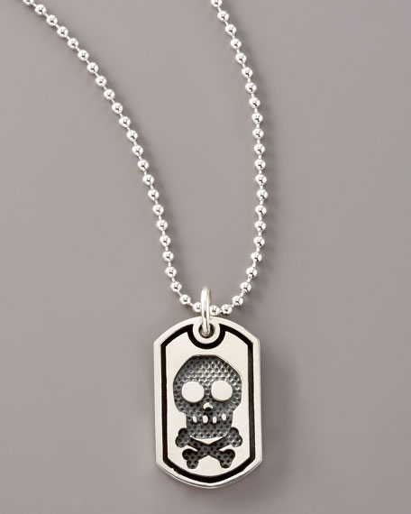 Skull-and-Bones Dog Tag Necklace