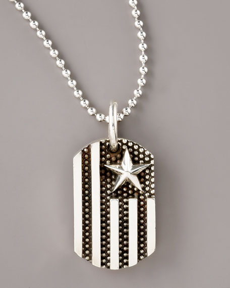 Flag Dog Tag Pendant Necklace