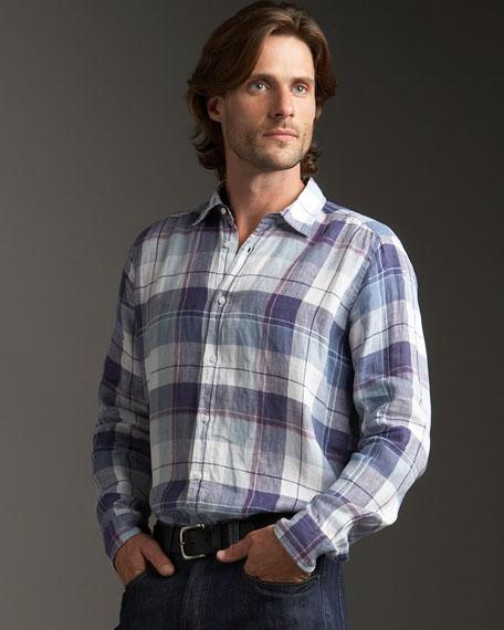 Plaid Woven Linen Shirt