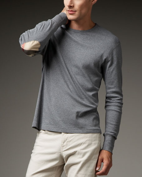 Elbow-Patch Long-Sleeve Tee, Gray