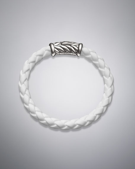 Weave Bracelet, White Rubber, 8mm