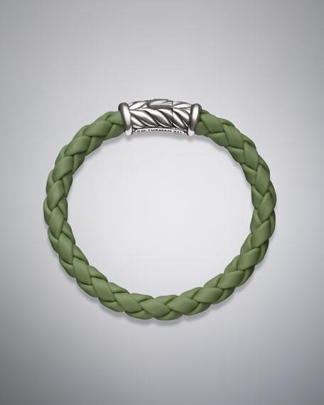Weave Bracelet, Green Rubber, 8mm