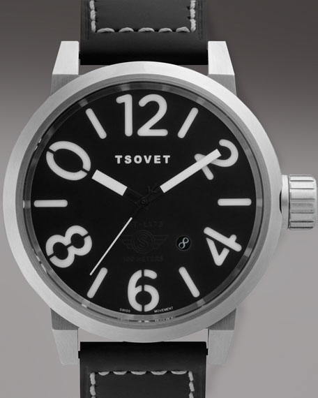 Leather-Strap Round Watch