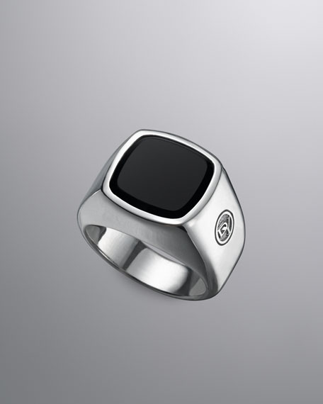 DY Logo Ring with Black Onyx
